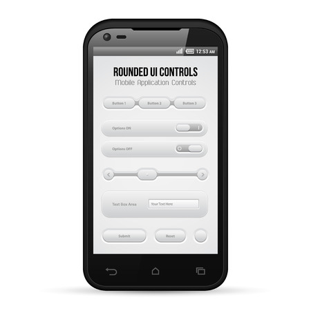 Light Mobile Application UI Controls Set Gray  Smartphone 480x800  Button, Switchers, Bar, Box, Volume, Tabs  Web Design Elements  Software  Vector User Interface EPS10