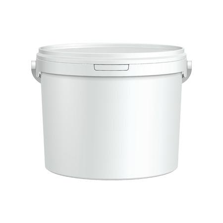 festékek: Megnyitotta White Tub Festék Műanyag vödör konténer Gipsz, gitt, toner kész a design termék csomagolása Vector EPS10