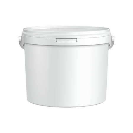 milk pail: Opened White Tub Paint Plastic Bucket Container  Plaster, Putty, Toner  Ready For Your Design  Product Packing Vector EPS10