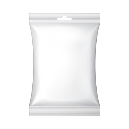 laminated: White Blank Foil Food Snack Sachet Bag Hang Slot Packaging For Coffee, Salt, Sugar, Pepper, Spices, Sachet, Sweets, Chips, Cookies Or Candy  Plastic Pack Template Ready For Your Design  Vector EPS10
