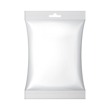 Witte lege Folie Snack Sachet Bag Hang Slot Verpakking voor koffie, zout, suiker, peper, specerijen, Sachet, snoep, chips, koekjes of snoep Plastic Pack Template klaar voor uw ontwerp Vector EPS10