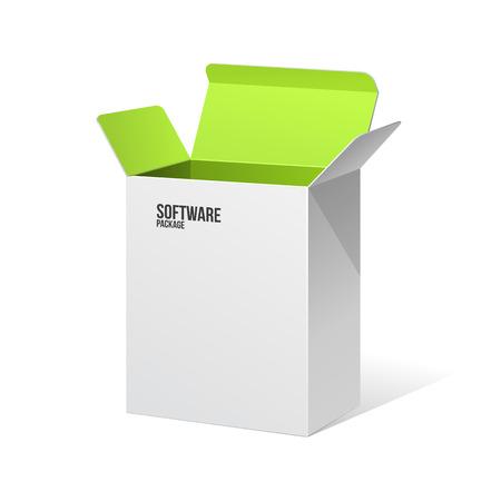 Software Pakket Box Geopend White Inside Green Stock Illustratie