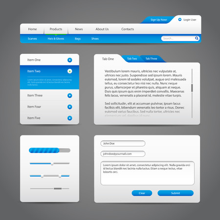 Web UI Controls Elements Gray And Blue On Dark Background  Navigation Bar, Buttons, Login Form, Slider, Message Box, Menu, Tabs, Input Area, Search, Scroll, Download, Tooltip, Pagination, Download  Ilustração