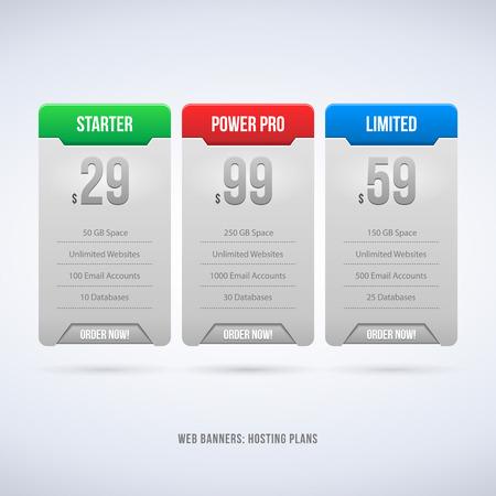 Perfect Web Boxes Hosting Plans For Your Website Design Blue  Banner, Order, Button, Box, List, Bullet  Vector