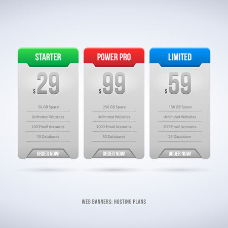 Perfect Web Boxes Hosting Plans For Your Website Design Blue  Banner, Order, Button, Box, List, Bullet  Vector