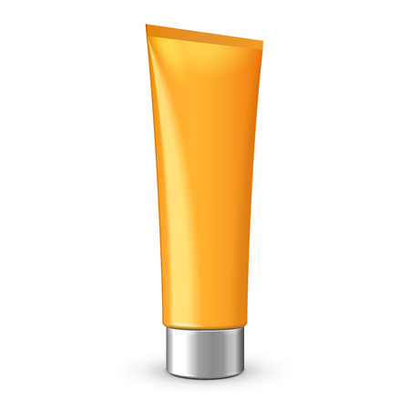 orenge: Tube Of Cream Or Gel Orenge Yellow Clean With Gray Silver Chrome Lid  Ready For Your Design  Product Packing Vector EPS10