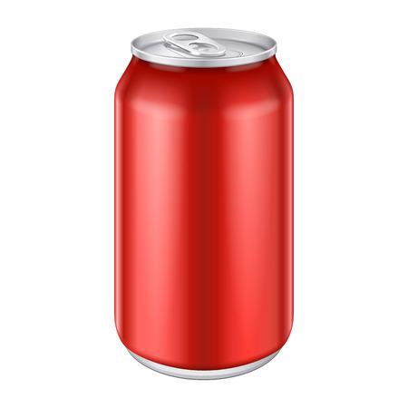 lata de refresco: Aluminio Red Metal Bebidas bebida puede 500ml listo para su diseño Embalaje de Producto vectorial EPS10