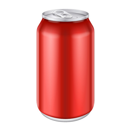 Red Metal Aluminum Beverage Drink Can 500ml  Ready For Your Design  Product Packing Vector EPS10