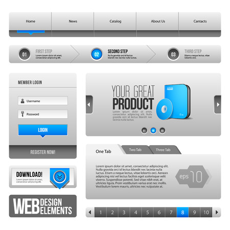 Modern Clean Website Design Elements Grey Blue Gray  Buttons, Form, Slider, Scroll, Carousel, Icons, Tab, Menu, Navigation Bar, Download, Pagination  Vector