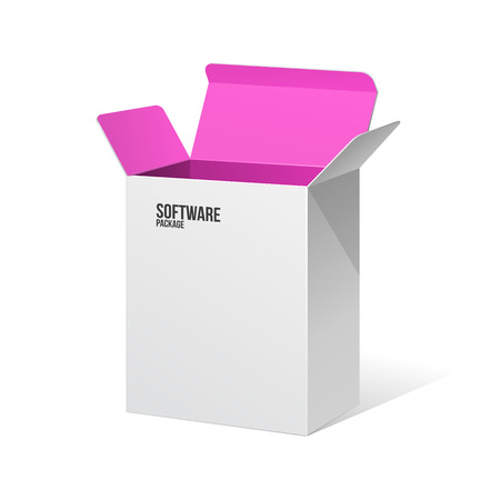 software package: Software Package Box Opened White Inside Pink Violet Purple