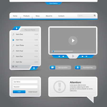 Web UI Controls Elements Gray And Blue On Dark Background  Navigation Bar, Buttons, Login Form, Play List, Message Box, Menu, Video Player, Play, Stop, Search, Download, Tooltip  Illustration