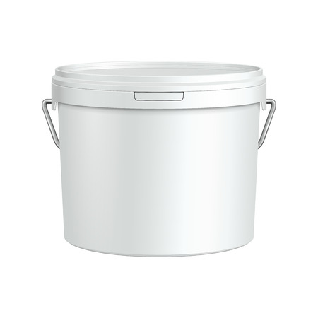 White Tub Paint Plastic Bucket Container With Metal Handle  Plaster, Putty, Toner  Ready For Your Design  Product Packing Vector EPS10