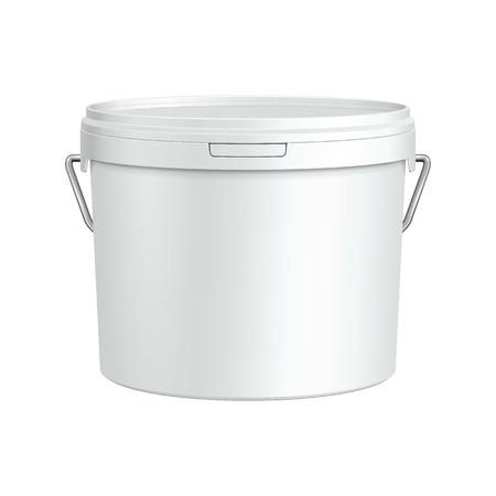 Wit Tub Paint Plastic Emmer Container met metalen handvat Gips, Putty, Toner klaar voor uw ontwerp Verpakking van het product Vector EPS10