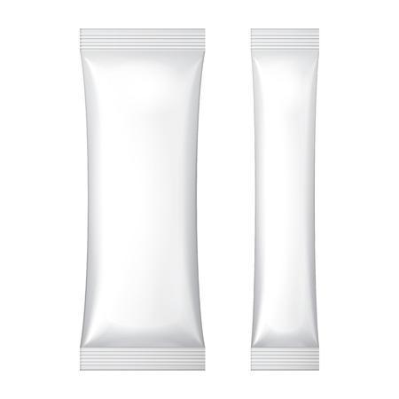 Due bianco Foil Packaging bianco Bustina caffè, sale, zucchero, pepe o spezie Bastone Plastica Pacchetto pronto per la progettazione Snack dell'imballaggio del prodotto vettoriale EPS10