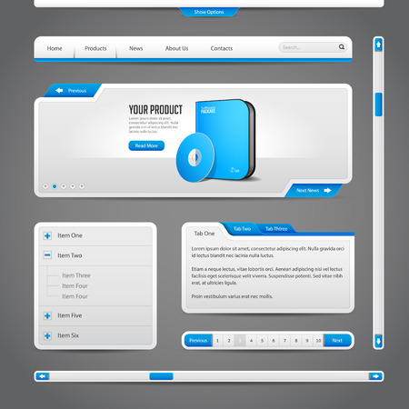 Web UI Controls Elements Gray And Blue On Dark Background  Navigation Bar, Buttons, Form, Slider, Message Box, Menu, Tabs, Search, Scroll, Download, Pagination, Download  Illustration