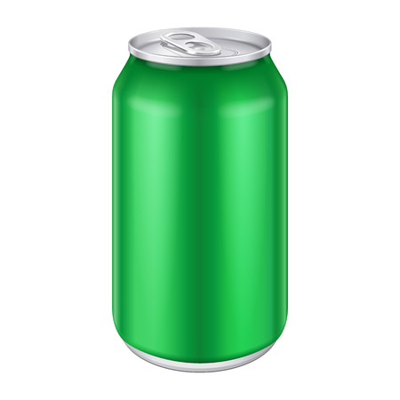 Green Metal Aluminum Beverage Drink Can 500ml  Ready For Your Design  Product Packing Vector EPS10  Vectores