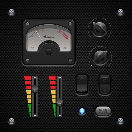 player controls: Controles de carbono software de aplicaci�n de interfaz de usuario Ajuste el interruptor, perillas, botones, L�mpara, volumen, ecualizador, volt�metro, Speedometr, Indicador, Detector, LED Web Elementos de dise�o vectorial User Interface EPS10