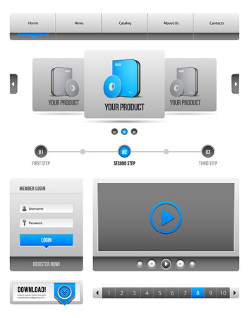 pagination: Modern Clean Website Design Elements Grey Blue Gray 2  Buttons, Form, Slider, Scroll, Carousel, Icons, Menu, Navigation Bar, Download, Pagination, Video, Player