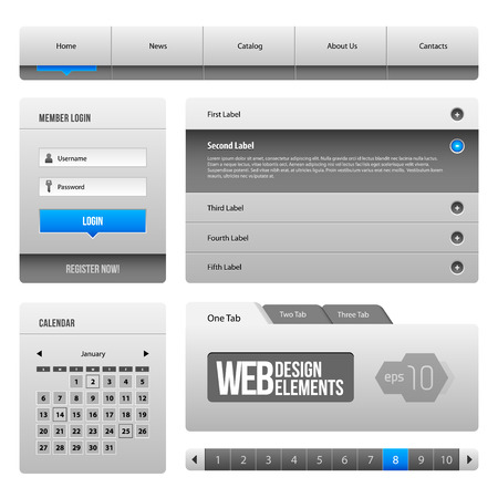 Modern Clean Website Design Elements Grey Blue Gray 3  Buttons, Form, Slider, Scroll, Carousel, Icons, Menu, Navigation Bar, Download, Pagination, Video, Player, Tab, Accordion, Search,
