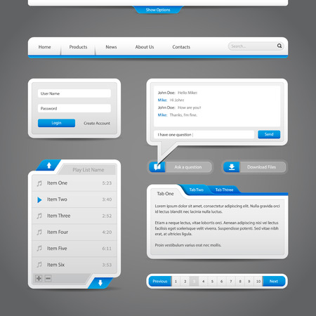 pagination: Web UI Controls Elements Gray And Blue On Dark Background  Navigation Bar, Buttons, Form, Slider, Message Box, Menu, Tabs, Search, Scroll, Download, Pagination, Chat, Play List  Illustration