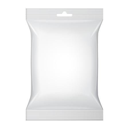 envases plasticos: Blanco en blanco Snack-Foil de Alimentos Sachet bolsa de embalaje para el caf�, sal, az�car, pimienta, especias, sobre, dulces, papas fritas, galletas o dulces de pl�stico Paquete de plantillas listo para su dise�o Vector EPS10