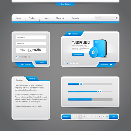 Web UI Controls Elements Gray And Blue On Dark Background  Navigation Bar, Buttons, Form, Slider, Message Box, Menu, Tabs, Search, Scroll, Download, Pagination, Calendar, Equalizer, Loader, Progress  Vector