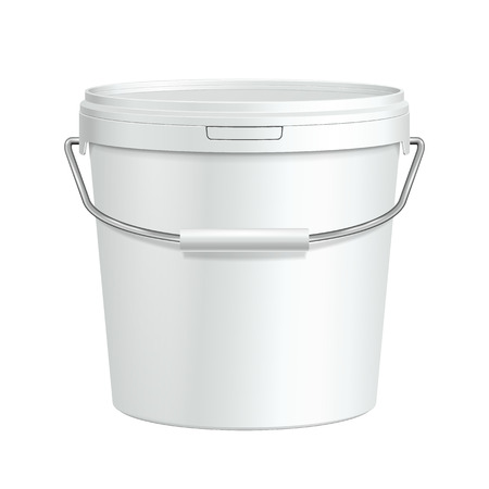 paint container: White Tall Tub Paint Plastic Bucket Container With Metal Handle  Plaster, Putty, Toner  Ready For Your Design  Product Packing Vector EPS10  Illustration