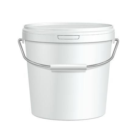 Wit Lang Tub Paint Plastic Emmer Container met metalen handvat Gips, Putty, Toner klaar voor uw ontwerp Verpakking van het product Vector EPS10