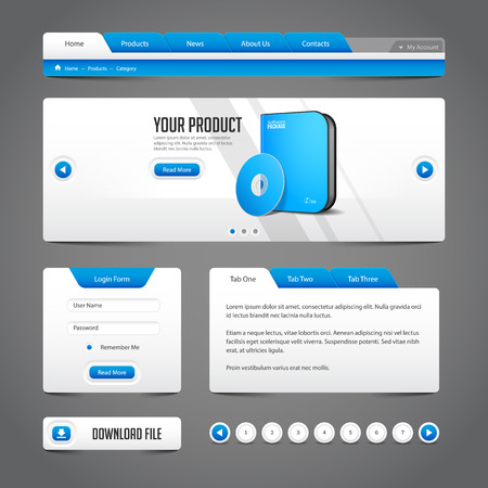 Web UI Controls Elements Gray And Blue On Dark Background  Navigation Bar, Buttons, Slider, Message Box, Loader, Pagination, Menu, Accordion, Tabs, Login Form, Search