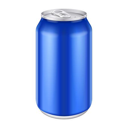 lata de refresco: Aluminio Blue Metal Bebidas bebida puede 500ml listo para su diseño Embalaje de Producto vectorial EPS10