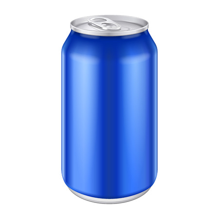 Blauw metaal aluminium drank Kan 500ml klaar voor uw ontwerp Verpakking van het product Vector EPS10