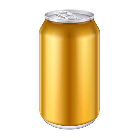 jarra de cerveza: Amarillo Naranja Oro Bronce Metal Aluminio Bebidas bebida puede 500ml listo para su diseño Embalaje de Producto vectorial EPS10
