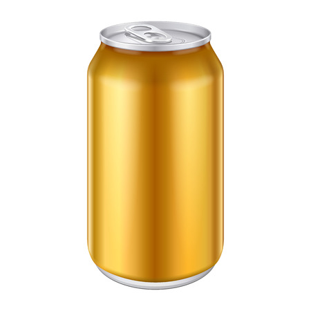 cola canette: Jaune Orange Or Bronze Metal Aluminium boissons boisson peut 500ml Pr�t pour votre conception de produit d'emballage Vector EPS10 Illustration