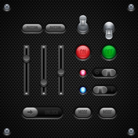 player controls: Carbon UI Application Software Controls Set  Switch, Knobs, Button, Lamp, Volume, Equalizer, LED, Unlock  Web Design Elements  Vector User Interface EPS10  Illustration