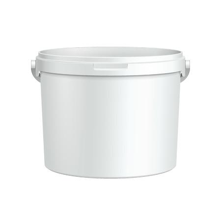 白い浴槽塗料プラスチック バケツ コンテナー石膏、パテ、トナーを開く