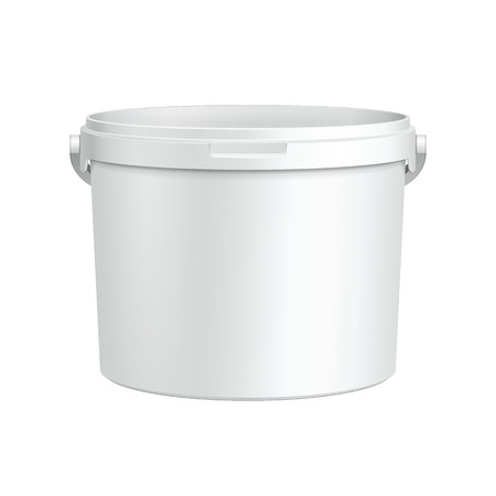 Opened White Tub Paint Plastic Bucket Container  Plaster, Putty, Toner