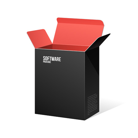 Software Package Box Opened Black Inside Red  Ilustração
