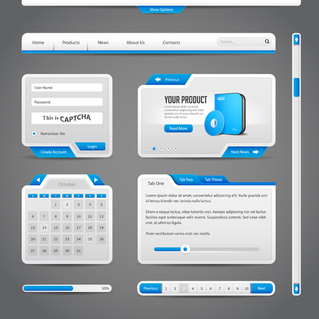 Web UI Controls Elements Gray And Blue On Dark Background  Navigation Bar, Buttons, Form, Slider, Message Box, Menu, Tabs, Search, Scroll, Download, Pagination, Calendar, Equalizer, Loader, Progress