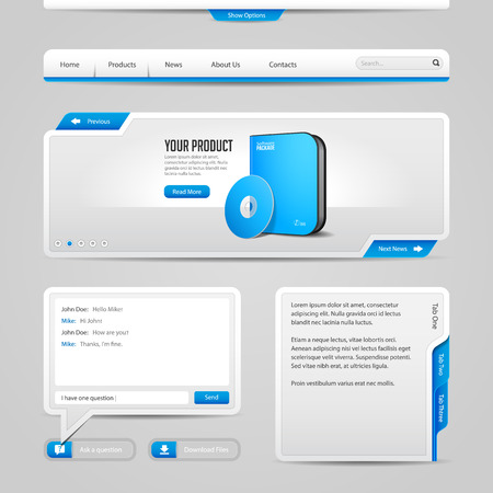 Web UI Controls Elements Gray And Blue On Light Background  Navigation Bar, Buttons, Slider, Message Box, Chat, Menu, Tabs, Input Text Area, Search, Scroll, Download, Tooltip  Иллюстрация