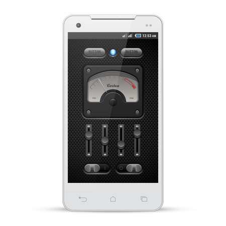 player controls: Carbon UI Application Software Controls Set  White Smartphone  Knobs, Switch, Button, Lamp, Speedometr, Tachometer, Indicator, Detector, LED  Web Design Elements