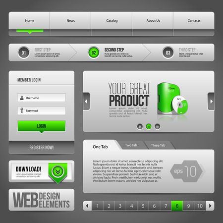 Modern Clean Website Design Elements Grey Green Gray  Buttons, Form, Slider, Scroll, Carousel, Icons, Tab, Menu, Navigation Bar, Download, Pagination  Illustration