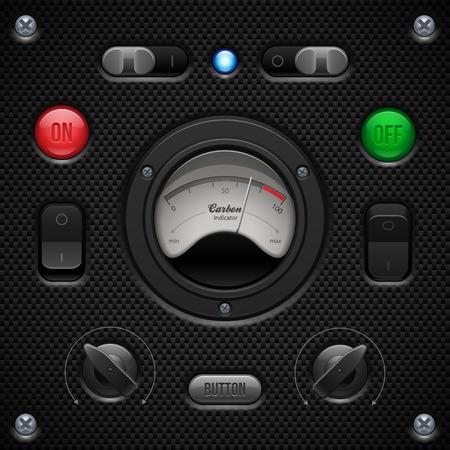 voltmeter: Carbon UI Application Software Controls Set  Switch, Knobs, Button, Lamp, Volume, Equalizer, Voltmeter, Speedometr, Indicator, Detector, LED  Web Design Elements