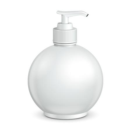 liquid soap: Gel, Foam Or Liquid Soap Dispenser Pump Round Plastic Bottle White  Ready For Your Design