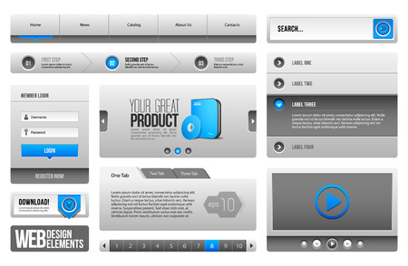 Modern Clean Website Design Elements Grey Blue Gray 3  Buttons, Form, Slider, Scroll, Carousel, Icons, Menu, Navigation Bar, Download, Pagination, Video, Player, Tab, Accordion, Search  Vector
