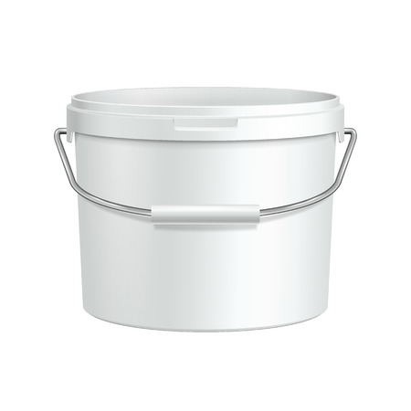 paint container: Opened White Tub Paint Plastic Bucket Container With Metal Handle  Plaster, Putty, Toner  Ready For Your Design  Product Packing
