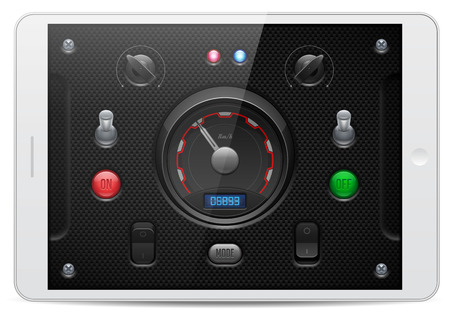 player controls: Carbon UI Application Software Controls Set  White Tablet PAD  Knobs, Switch, Button, Lamp, Speedometer, Tachometer, Indicator, Detector, LED  Web Design Elements  Vector User Interface     Illustration