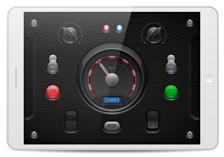 player controls: Carbono controles de software de aplicaciones de interfaz de usuario conjunto blanco Tablet PAD Perillas, interruptor, bot�n, l�mpara, veloc�metro, tac�metro, indicador, Detector, Dise�o Web LED Elementos Vector interfaz de usuario