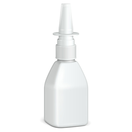 nasal: Spray Square Medical Nasal Antiseptic Drugs Plastic Bottle White  Ready For Your Design  Product Packing
