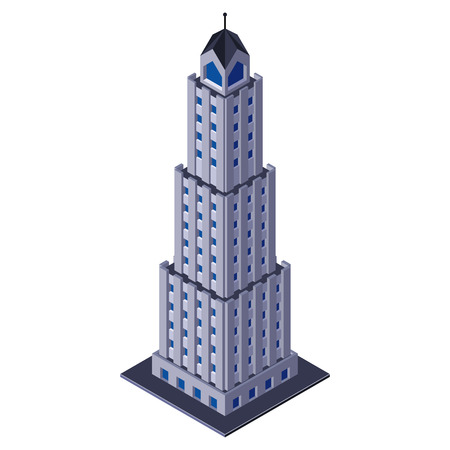 tall building: Skycraper Business Center Building, Office, For Real Estate Brochures Or Web Icon  Isometric      Illustration