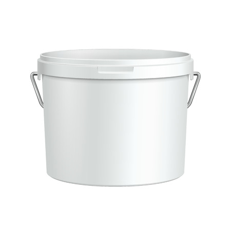 Opened White Tub Paint Plastic Bucket Container With Metal Handle  Plaster, Putty, Toner  Ready For Your Design  Product Packing          Vector